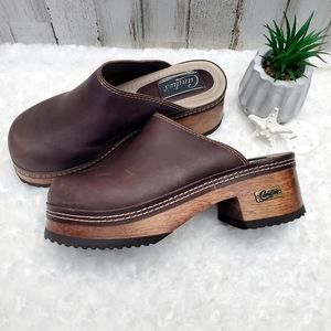 Candie's Vtg Brown Leather Chunky Mule Clogs